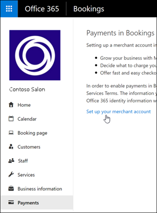 Screenshot: Select to setup a merchant account and manage payments in Bookings