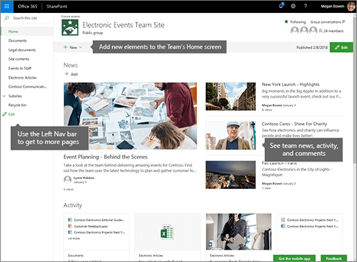 SharePoint Online Team site home page
