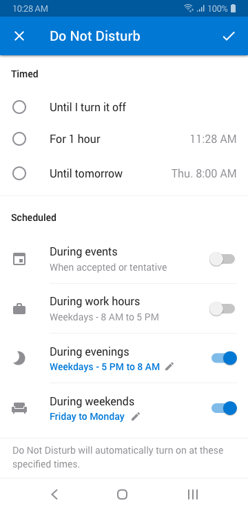 Image displaying an options screen showing the new additions to the Do not Disturb feature for Outlook on Android.
