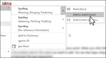 The editor context menu under a misspelled word with Add to AutoCorrect highlighted