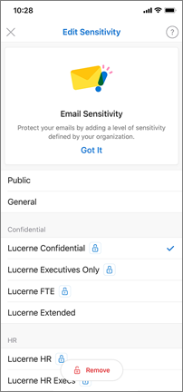 Edit Sensitivity screen with labels, such as public and general, to choose from