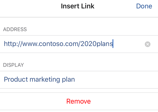 Insert Link dialog box in Word for iOS.
