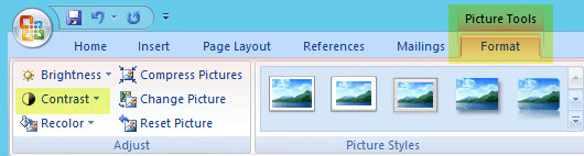 On the Picture Tools Format tab, in the Adjust group, select Contrast