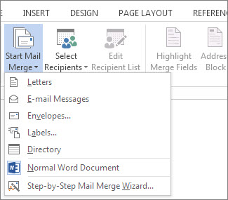 Screenshot of the Mailings tab in Word, showing the Start Mail Merge command and the list of available options for the type of merge you want to run.