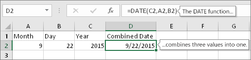A2 contains 9, B2 contains 22, C2 contains 2015, D2 contains =DATE(C2,A2,B2), result is 9/22/2015