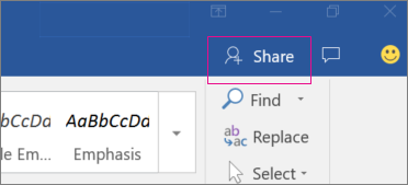 The Share icon is highlighted on the right side of the ribbon