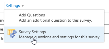 Survey settings menu with survey settings highlighted