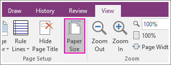 Screenshot of the PaperSize button in OneNote 2016.