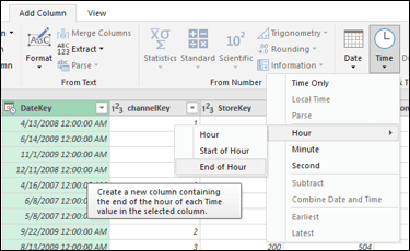 Power Query - Extract Start/End of Hour from a Date/Time or Time column from the Query Editor