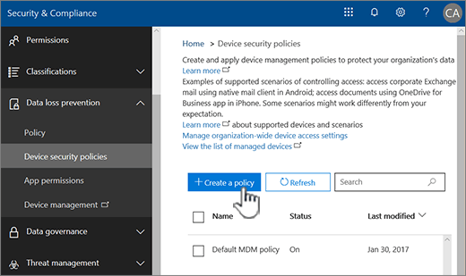 Creating an MDN device policy under Device security policies