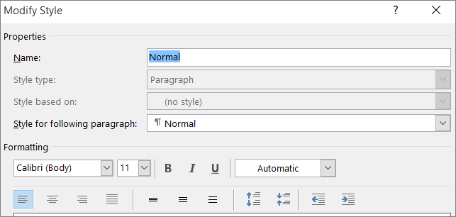 Customize or create new styles in word office support word modify style format spiritdancerdesigns Image collections
