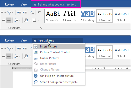 "Shows the ""tell me"" search box on the ribbon in Word."