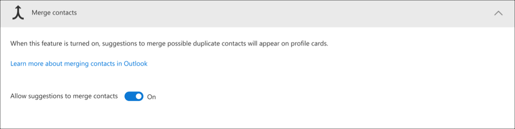 Merge contacts setting