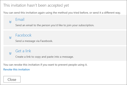 Screen shot of the dialog box for a pending invitation with options to send the link again via email, Facebook, or custom link, and a link to revoke the invitation.