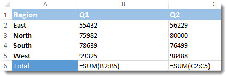 Formulas visible in an Excel worksheet