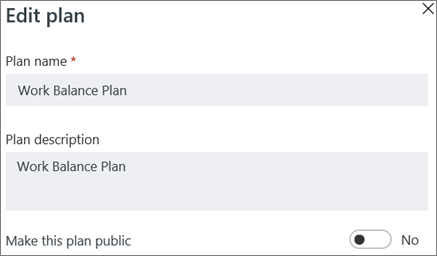 Screen shot of the Edit plan dialog box showing Make this plan public control.