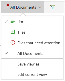 Files that need attention under the View Options menu