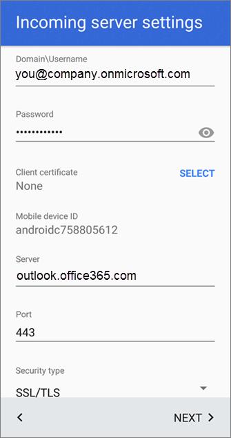 O365 manual settings