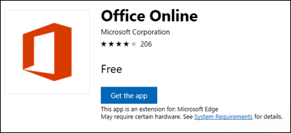 The Office Online extension page in the Microsoft Store
