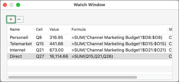 Watch window in Excel 2021 for Mac displaying Name, Cell, Value, and Formula