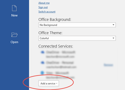 The Account tab in Word Backstage showing the Add Service button