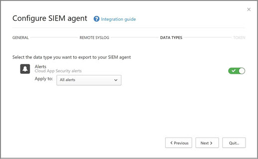 Select the alerts and activities  to export to your SIEM server.
