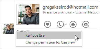 Screenshot of the Stop Sharing options in OneNote 2016.