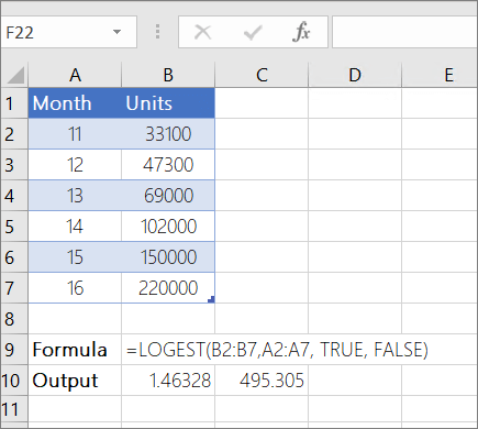 Example 1-- LOGEST function