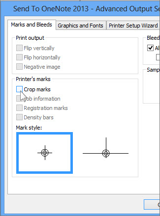Remove Crop Marks Check Box