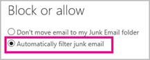 Automatically filter junk email