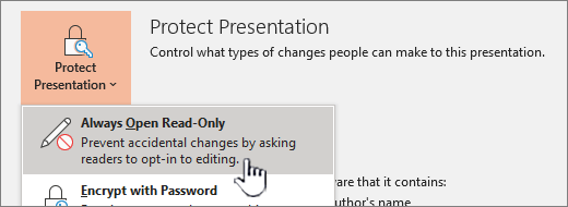The Protect Presentation menu with Always Open Read-Only selected