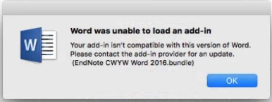 """Word was unable to load an add-in"" error mesage"