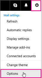 Options menu in post-upgrade Outlook.com
