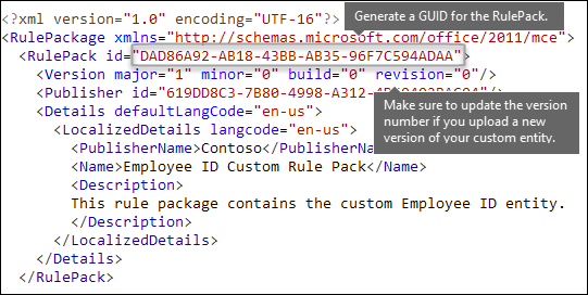 XML markup showing RulePack element
