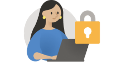 Illustration of woman on laptop beside a padlock
