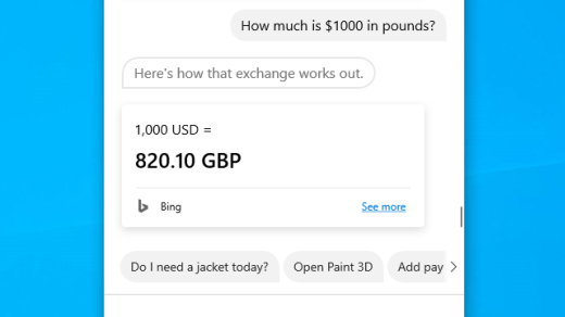 Find an exchange rate with Cortana in Windows