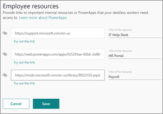 Screenshot of employee resources in StaffHub