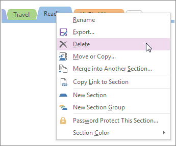 Screenshot of how to delete a section in OneNote 2016.