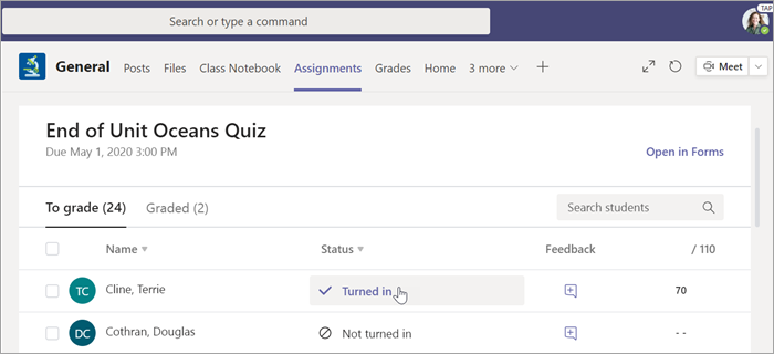 Select a student's quiz to grade.