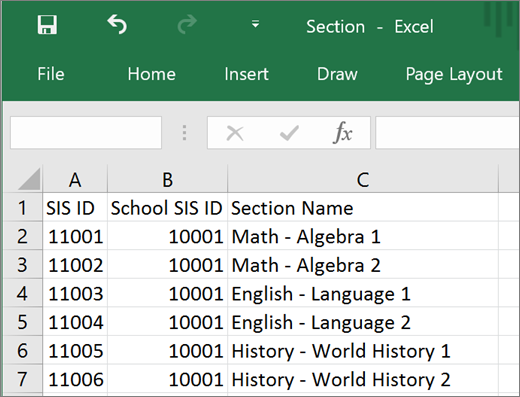 Minimum required attributes for Section.csv file