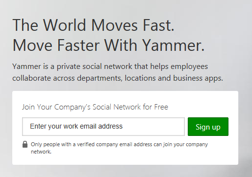 Yammer sign-in screen