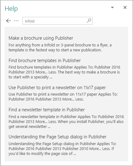 Screenshot of the Publisher 2016 Help pane displaying the results of a search for Trifold.