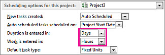 Options dialog box, Scheduling options for this project area