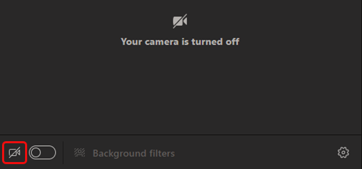 Select camera icon to turn camera on