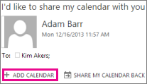 Add Calendar button when you receive calendar sharing invitation.
