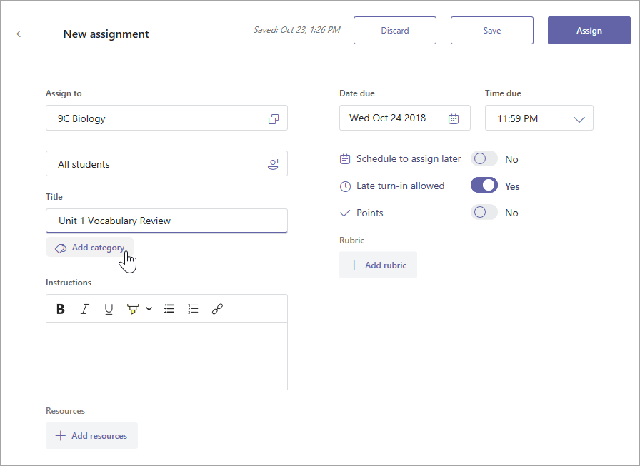 Add category button under assignment title