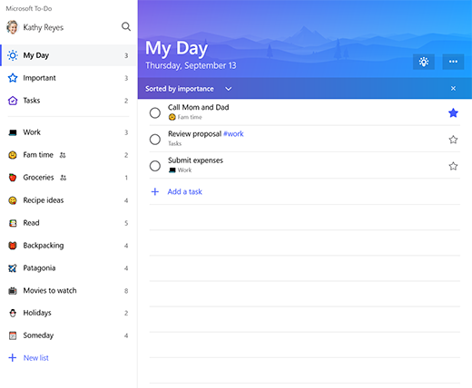 Screenshot showing the list sidebar and My Day list in Microsoft To-Do