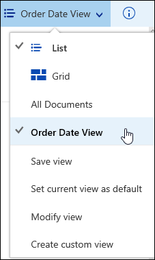 Saved custom document library view in Office 365
