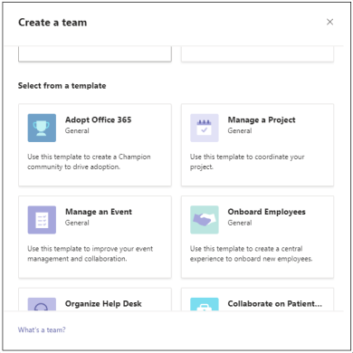Create a team template page