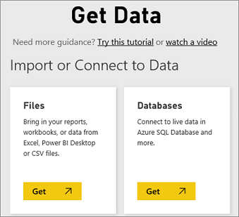 The opening screen for getting data into Power BI
